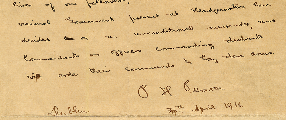 Padraig Pearse (1879 - 1916) Surrender Letter - Sold for  €700,000