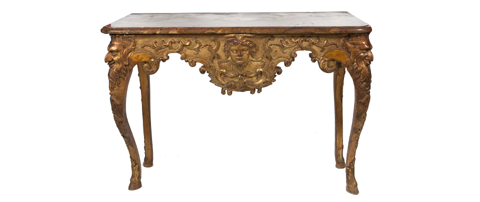 A GEORGE I CARVED GILTWOOD SIDE TABLE IN THE MANNER OF BENJAMIN GOODISON - Sold for €9,000.