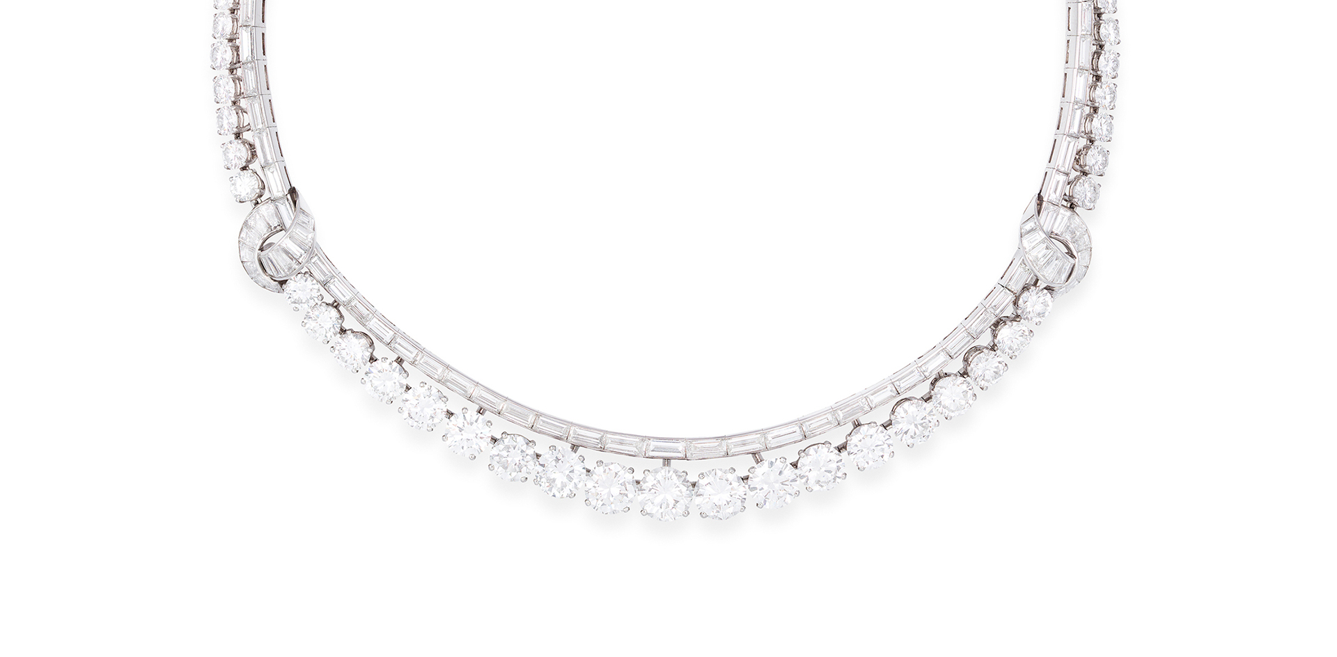 A MAGNIFICENT DIAMOND RIVIERE NECKLACE, BY MAUBOUSSIN, CIRCA 1955 - Sold For €187,000