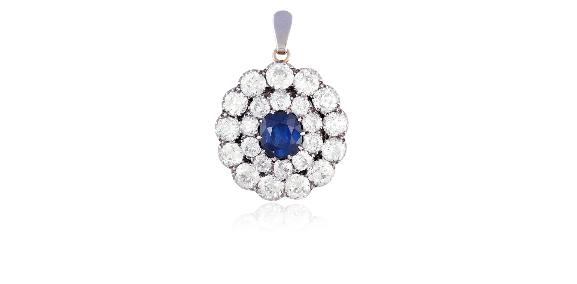 A LATE 19TH CENTURY SAPPHIRE AND DIAMOND PENDANT/ BROOCH, CIRCA 1890 - Sold For €20,000