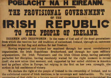 Poblacht na hEireann –  The Proclamation of Independence  of the Irish RepublicPrinted in Dublin, 23rd April 1916 Sold – €360,000